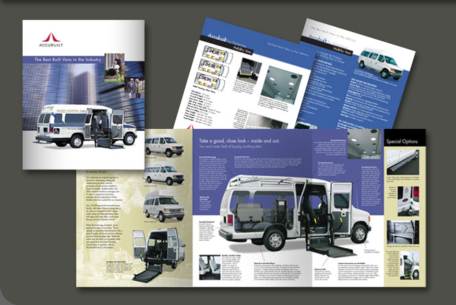 Mobility brochure, illustrations and product sell sheets for Accubuilt, Inc.