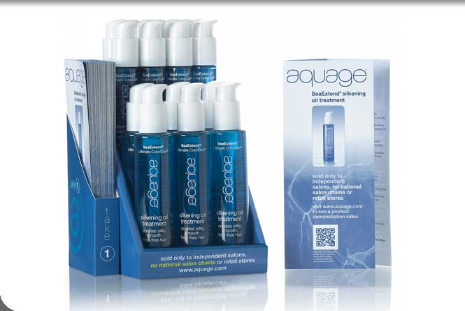 Salon counter display, literature holder and trifoild brochure for Aquage silkening oil treatment product.