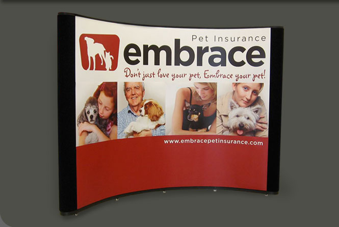 Trade show booth graphic panels for Embrace Pet Insurance