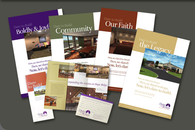 Dare to Build fundraising campaign logo, brochure, pledge card and posters for Hopr Ridge United Methodist Church, Concord, Ohio