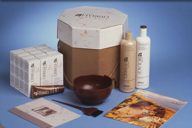 Hybrid hair color product packaging, outer carton, shampoo and prepack promotional package from Matrix Essentials, Inc.