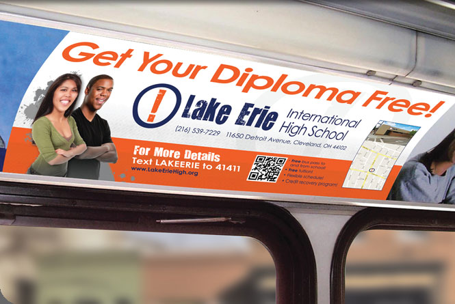 Interior transit ad for Lake Erie International High School.
