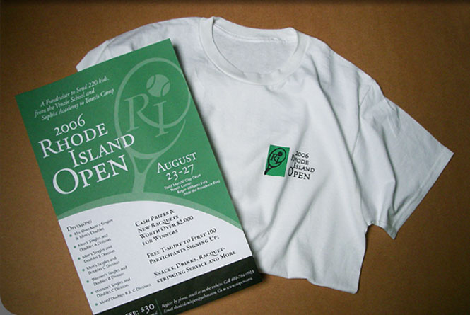 Identity, poster and Tee shirt logo design for the Rhode Island Open tennis fundraiser