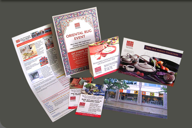 E-newsletter, posters, tent cards, postcards, flyers, ads  and store banners for Ten Thousan Villages of Cleveland